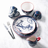 Creative Ceramic Tableware Plate Hand-painted Blue Boat Dish Dishes for Restaurant Porcelain Dinner Plate Dessert Plates