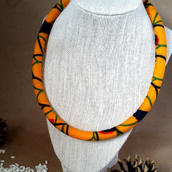 African wax print, Orange necklace, Fabric neck rope, African fabric, Tribal print necklace, Ethnic necklace, Fabric necklace, African print
