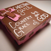Christian Girl, Country By The Grace Of God, CUSTOMEZIE w/NAME Brown and Pink Cow Print Canvas Quote