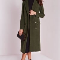 Missguided - Double Breasted Tailored Long Wool Coat Khaki