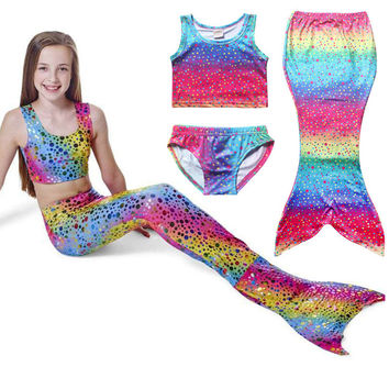 Rainbow color Dot Set Swimwear Swimsuit Swim Cosplay Costume New Kids Girls Swimming Mermaid Tail Bikini