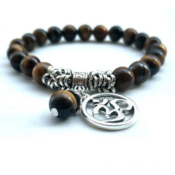 8mm Tiger Eye Natural Stone Bead Bracelet with OM Charm - 2 Color Options