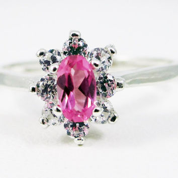 Small Pink Sapphire Oval Halo Ring Sterling Silver, September Birthstone Ring, Pink Sapphire Ring, Sterling Halo Ring, 925 Sterling Ring