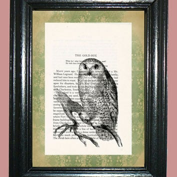 Snowy Owl Novel Book Page Art - Edgar Allan Poe Story Page Art Beautiful Upcycled Page Art Home Decor Collage Art Print