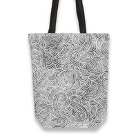 'Grey and white swirls doodles' Tote Bags by Savousepate on miPic