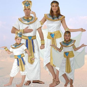 Egypt Queen Costumes Princess Royal Golden Women Men Costume Masquerade theme Party adult halloween cosplay kids child clothing