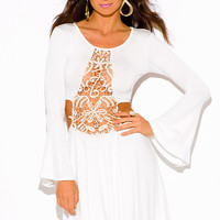 IVORY WHITE CROCHET CUT OUT BACKLESS BELL SLEEVE BEACH COVER UP BOHO MINI SUN DRESS