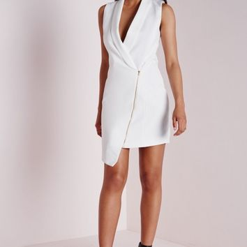 CREPE SLEEVELESS BLAZER DRESS WHITE