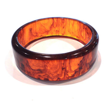 Vintage Tortoise Shell Bangle, Lucite Translucent Rootbeer