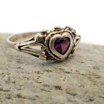ON SALE Sterling Silver Amethyst Heart Ring, I Love You, Valentine's Day Gift, February Birthstone,  Size 6.5