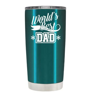 Worlds Best Dad on Translucent Teal 20 oz Tumbler Cup