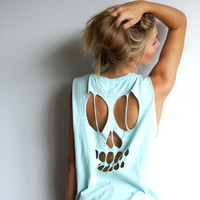 Cut out Skull Tank Top - Colored Shirts