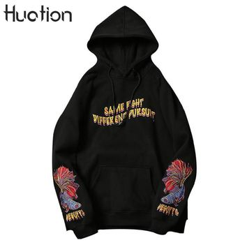 Huation Embroidery Off White Hoodies Hip Hop Fleece Pullover Mens Kanye West Sweatshirt Floral  Hooded Thick Hoodie Moletom
