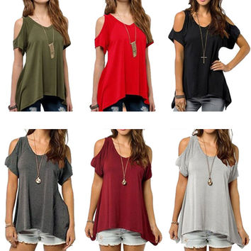 Loose Top Short Sleeve Blouse Ladies Casual Tops T-Shirt