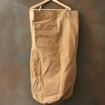 Large Vintage Military Duffle Bag USMC, Sturdy Khaki Bag, Large Duffle Bag, Marine Corp. Canvas Bag, Collectible