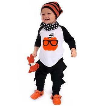 2017 Kids Toddler Boys Hallowmas Pumpkin Print T-shirt+Pants Outfits Baby Children Clothes Costume Infant For Halloween Party