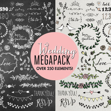 Wedding Clipart Mega Pack - hand drawn wedding clip art, chalkboard wedding, floral clipart, wedding embellishments, rustic flowers