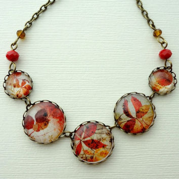 Autumn Day Statement Necklace. Gift for her under 40 usd. Leaves. Fall. Warm Colors. Red. Brown
