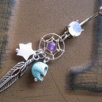 Dream Catcher Belly Button Ring Jewelry Bar Turquoise Skull Feather Star Amethyst Dangle Navel Piercing Barbell