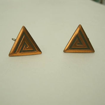 Vintage Art Deco Copper Screw Earrings Renoir Era Vintage Jewelry