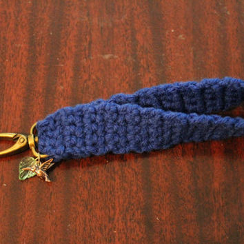 Crocheted Dark Blue Keychain Wristlet with Charms