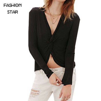 Fashion Star Strip V Neck Long Sleeve Street Wear Ties Dovetail Tops Solid Color Sheath Asymmetrical Ladies Cheap T Shirt