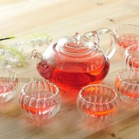 Clear Glass Teapot with 6 Double-Wall Cups