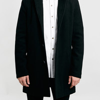 BLACK WOOL BLEND COAT - Men's Jackets & Coats - Clothing - TOPMAN USA