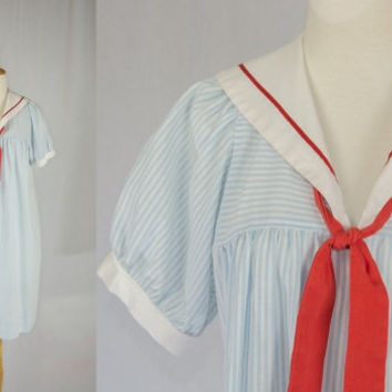 Vintage 1980's Sailor doll Dress Light Blue Stripe SPRING SALE!