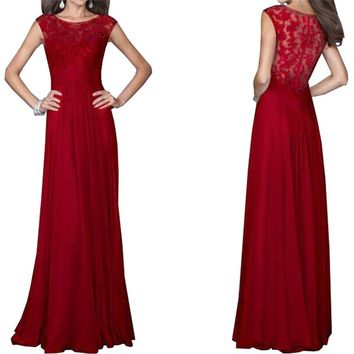Liva Girl Summer Women Elegant Evening Party Gowns Maxi Dress Sexy Chiffon Lace Dresses Floor-length Prom Red Long Dress XXL