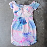 dreamy off the shoulder watercolor bodycon dress