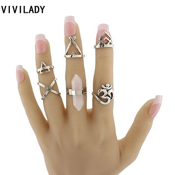 VIVILADY Vintage Ethnic Style 6pcs Om Yoga India Symbol Boho Pink Stones Cross Finger Midi Knuckle Ring Sets Bijoux Female Gifts