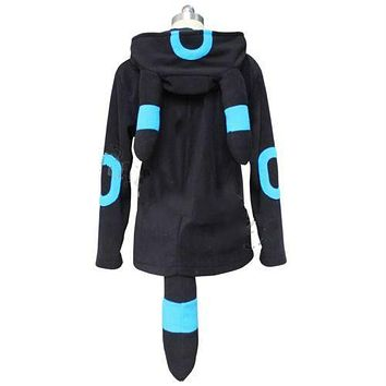 Anime Pokemon Shiny Umbreon Women Men Zip Hoodie with Ears Tails Cosplay Costume Hoody Jacket Coat Outwear Hooded Sweatshirt