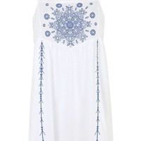 Embroidered Panel Sundress - Topshop
