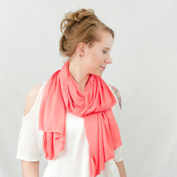 Pink Coral Scarf Scarf Infinity Spring Summer Lightweight Wide Fashion Head Hair Wrap