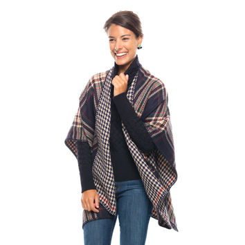 Navy Double Sided Waterfall Poncho