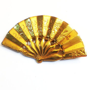ON SALE!  Vintage Miriam Haskell Gold Fan Brooch with Asian Style Etching, 1950s