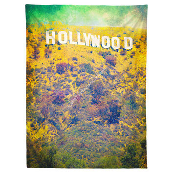 Hollywood Hanging Wall Tapestry, Home Decor, Dorm, California, Photography, Modern Art, Yellow Wall Hanging, Headboard Tapestry, Photo Wall