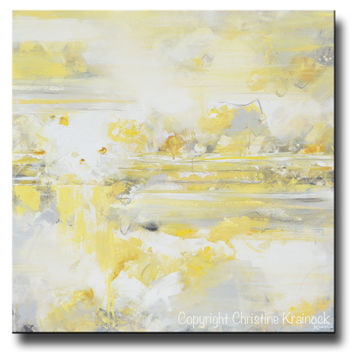 GICLEE PRINT Art Yellow Grey Abstract Painting Modern Coastal Canvas Art White Gold Wall Decor