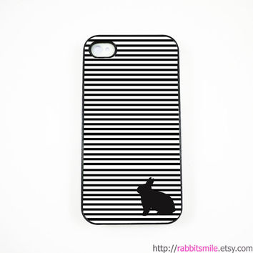 Rabbit Bunny in black and white stripe  iPhone 5 Case, iPhone 4 case, iPhone 4s Cover , Hard Plastic iphone 5 Cover, cases