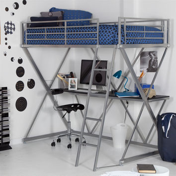Modern Bunk Bed style Twin Loft. Bed with Desk in Silver Metal Finish