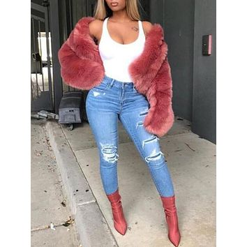 New Red Faux Fur Fuzzy Long Sleeve Elegant Cardigan Coat