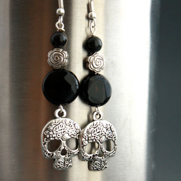 Mexican Sugar Skull Earrings - Dia De Los Muertos Earrings - Day of the Dead - Sophisticated - Pretty Jewelry