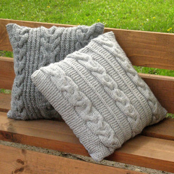Throw Pillow Decorative Cushion Covers Hand knitted design Gray