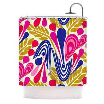 "Amy Reber ""Abstract Bouquet"" Pink Blue Shower Curtain"