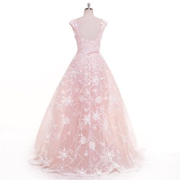 Pink Backless Zipper Square Collar Floral Flower Evening Dresses Elegant Party Gown Evening Gowns Prom Dress