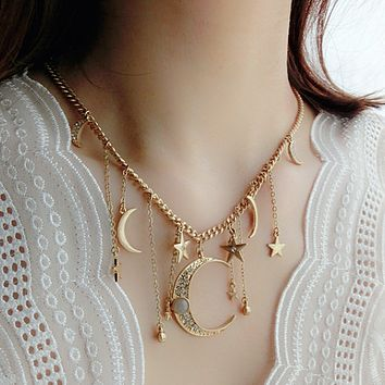 Cuddle the moon's star necklace Red concavity moon crystal diamond tassel goddess necklace
