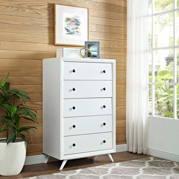 Modway Tracy 5 Drawer Chest - White | Hayneedle