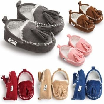 0-18M Baby Crib Shoes Soft Sole Tassel Shoes Infant Toddler Moccasin Prewalker