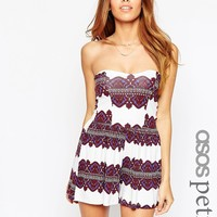 ASOS PETITE Bandeau Playsuit in Morrocan Border Print at asos.com